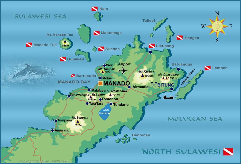 Manado Indonesia  City pictures : Divex Indonesia Manado North Sulawesi Dive Map